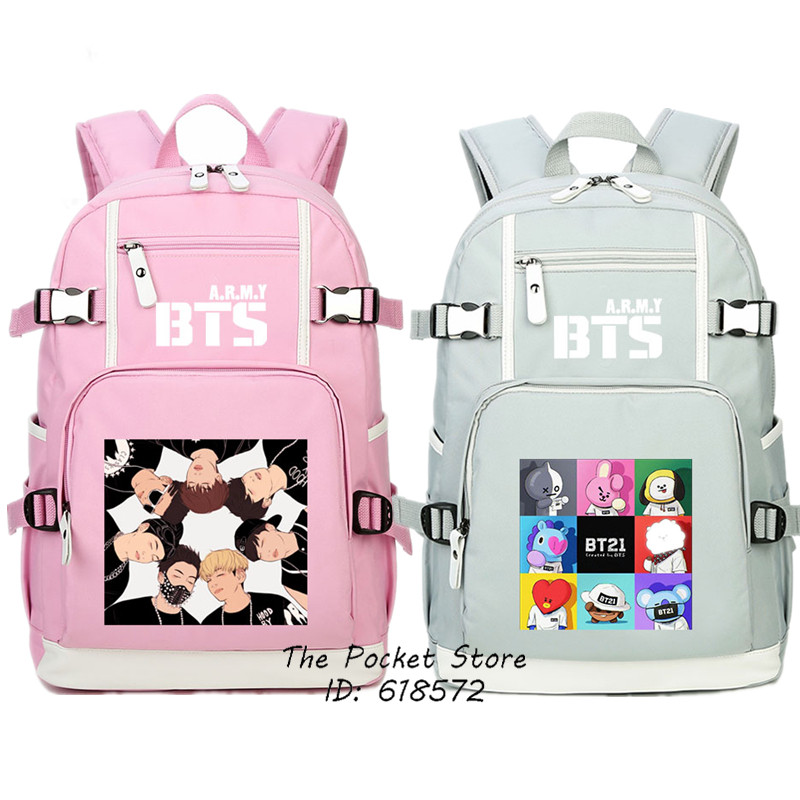 High Quality 2018 New BTS Bangtan Boys Printing Women Backpack Hip Pop BTS School Bags Mochila Feminina Canvas Laptop Backpack сумка asics 134934 1087 bts backpack