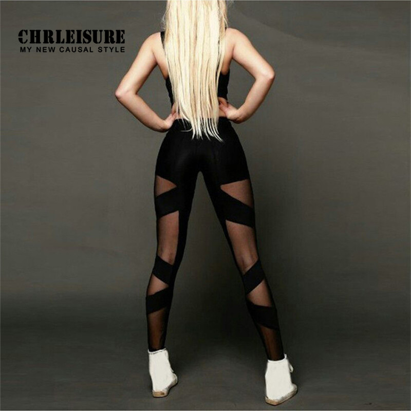 CHRLEISURE Black Mesh Women's Leggings Polyester High Waist Stretching