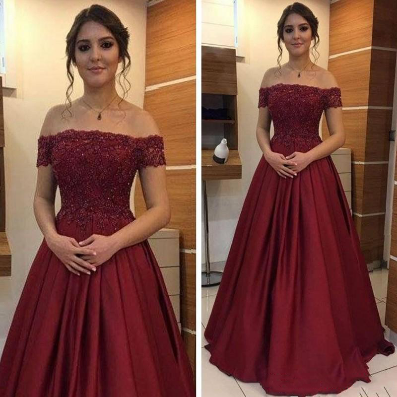 prom     dress   2019 sexy dark red   prom     dresses   a-line appliques bare back off the shoulder satin party   dress   free shipping