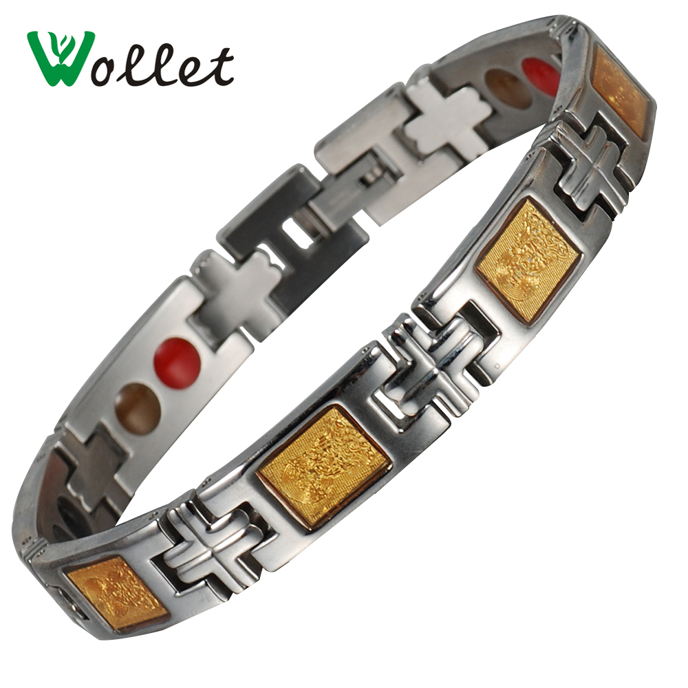 Wollet Magnetic Therapy Gold Foil Infrared Hematite Magnetic Germanium Stainless Steel B ...