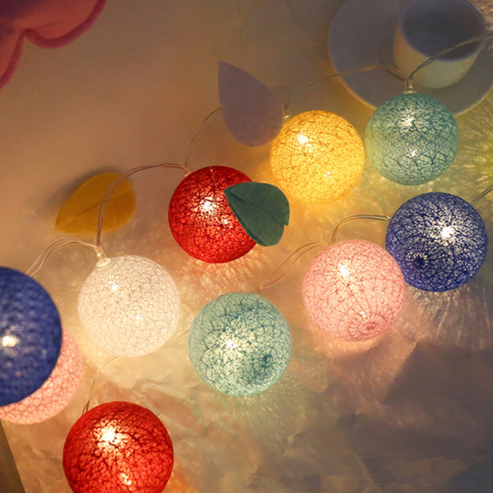 Rainbow Color Cotton BALL String Light For Xmas Feast Table Ornament Light Lamp 5M 8 Mode Led Strip Home Bedroom Decor Garlands
