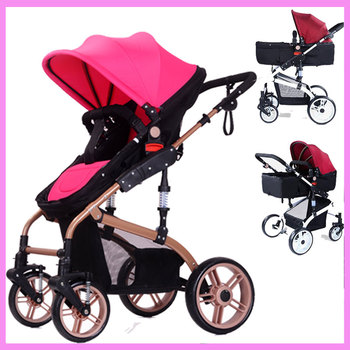 High Landscape Luxury Folding Baby Stroller Reverse Handle Portable Stroller Baby Pram Pushchair Baby Sleeping Basket Carriage