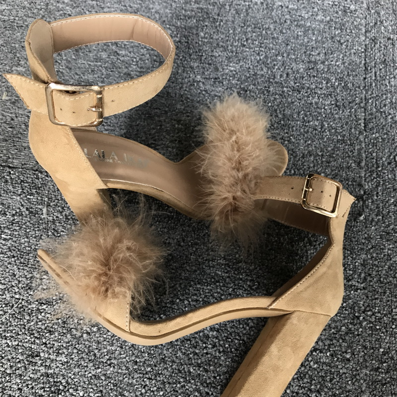 LALA IKAI Women Sandals Shoes Women Suede High Heels Footwear Real Fur Ankle Strap Gladiator Sandals Female Wedding C0759-5