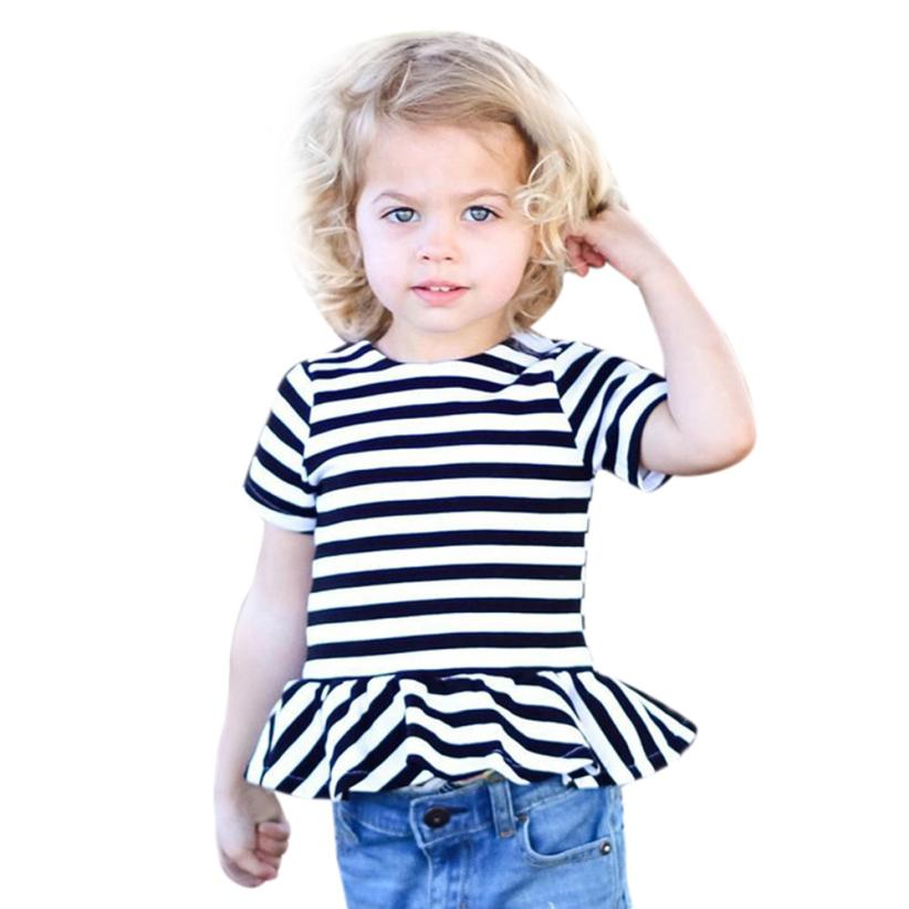 2017 fashion summer babygirls clothing Toddler Baby Kids Girls Short Sleeve Striped T shirt Tops Clothes Outfits girls clothes