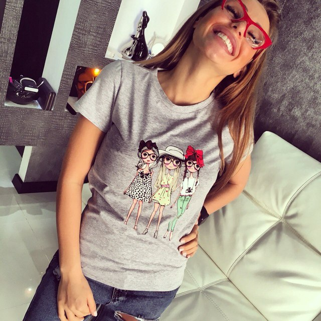 Jojo 2017 Brand New Summer Fashion clothes for women three wear glasses girls print harajuku kawaii t shirt women's T-Shirts