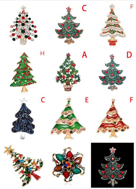 Hot Sale 1pcs Christmas Tree Crystal Brooches Full Colorfull Rhinestones Scarf Clip Gift For The New Year Christmas Brooch Pins