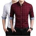 Мужчины с длинным рукавом плед хлопок весной и осенью на открытом воздухе мода бренд мужской одежды уменьшают подходящие высокое качество большой размер рубашка