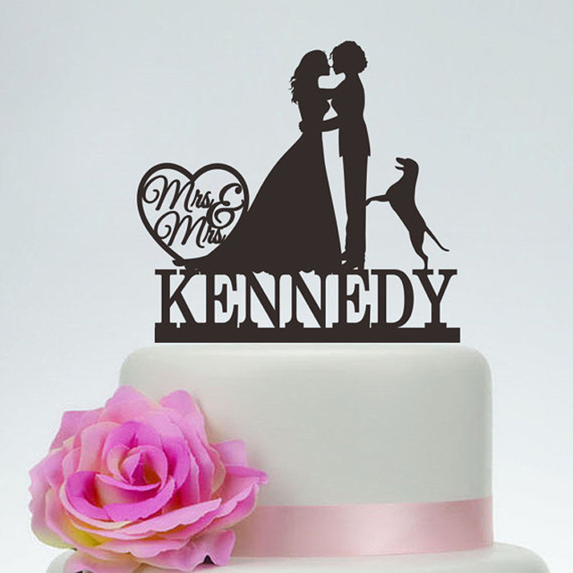 Personalized Cake Topper With Doglesbian SilhouetteMrs And Mrs Wedding