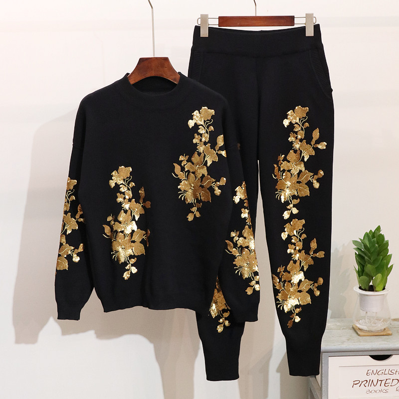 Autumn Women Sequins Flowers Sweater Pants Set Long Sleeve Ladies Knit Pullover Tops Trousers Winter Fashion