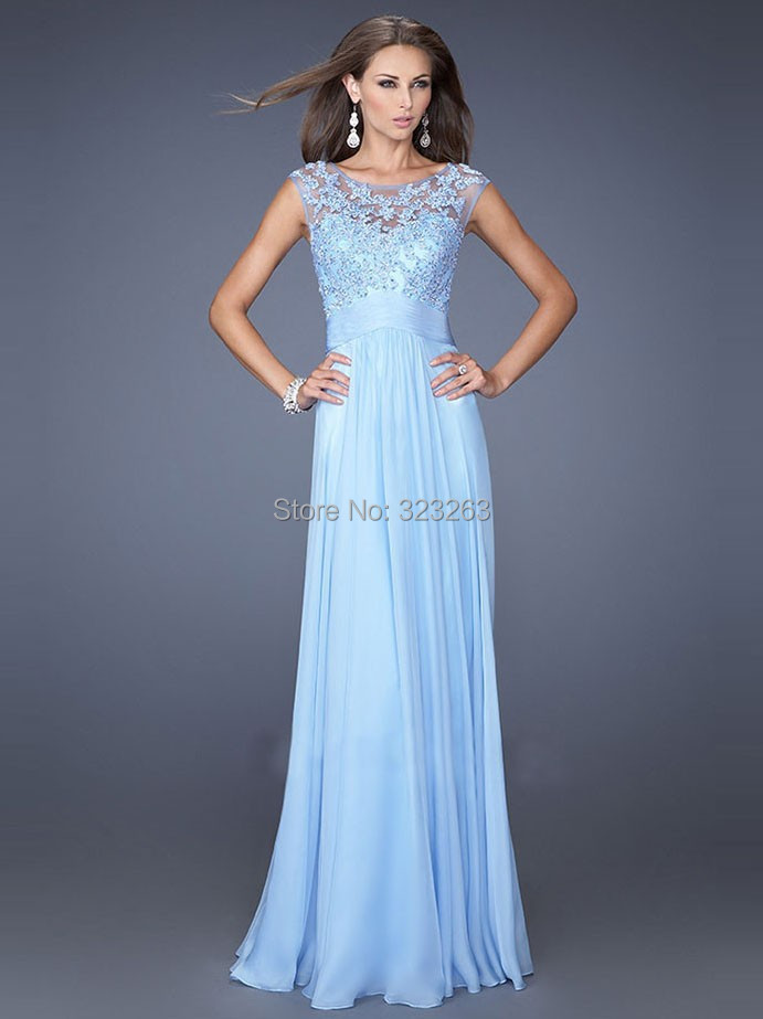 Robe de soiree longue bleu clair
