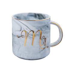 Marble Ceramic Mug Portable Tour Coffee Milk Breakfast Tea Cups Creative Mr and Mrs Mugs Gold Plating Couple Lovers Gift