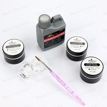 Pro Set Kit Nail Art Design Acrylic Powder Liquid Crystal Dappen Powder Brush Pen Dish Acrylic Nail Free Shipping