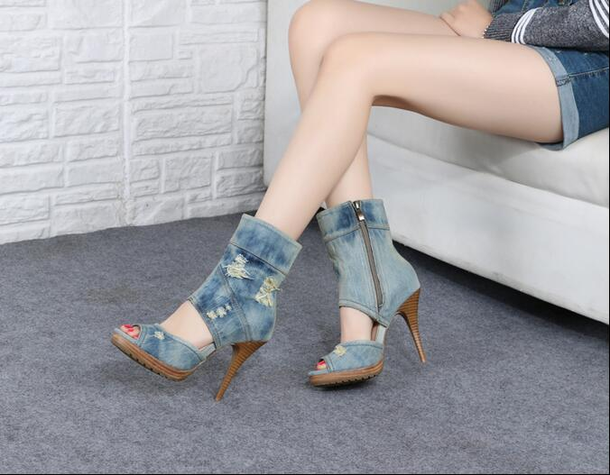 2017 Summer  Autumn New European Style Fashionable Denim Cool Boots High Thin Heels  Mid-Calf Sandals Peep Toe Women Shoes new fashion boots autumn cool