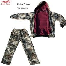 Зимняя утепленная Подкладка флисовая бионическая камуфляжная охотничья уличная тактическая походная одежда Ghillie костюм куртка брюки