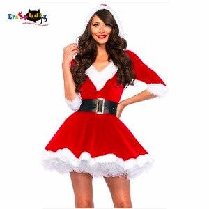 Image 1 - הגעה חדשה חג המולד שמלת נשים חג מולד תלבושות למבוגרים 2017 אדום קטיפה פרווה שמלות סלעית סקסי נקבה סנטה קלאוס תלבושות