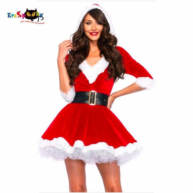 New Arrival sukienka świąteczna kobiety kostium na boże narodzenie dla dorosłych 2017 czerwone aksamitne futro sukienki z kapturem Sexy kobiet kostium świętego mikołaja