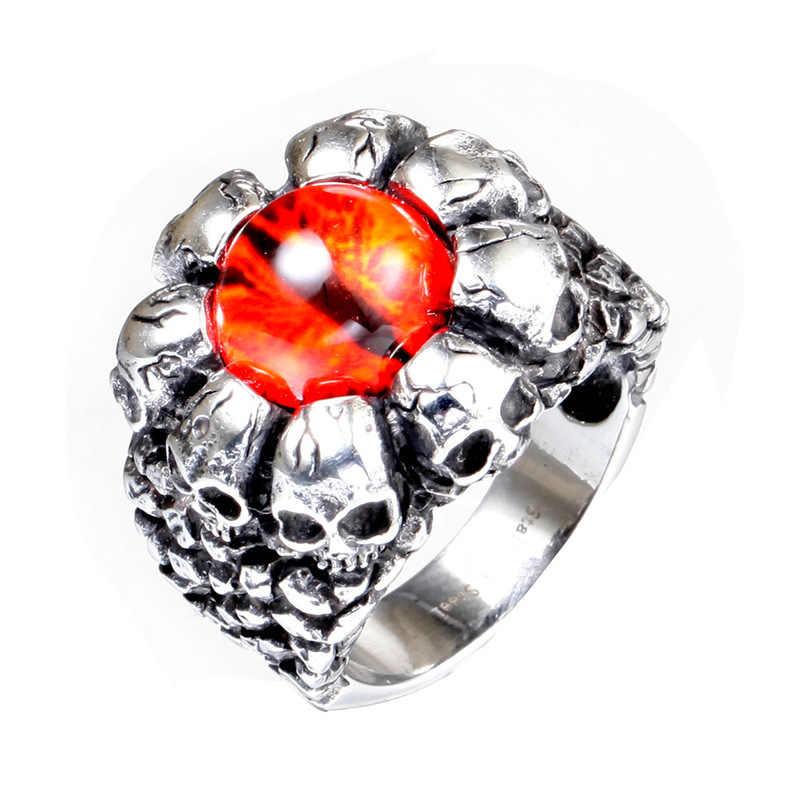 Увеличенное кольцо из нержавеющей стали с желтым глазом для мужчин, кольцо из титана с привидением, электрические аксессуары, оптовая продажа
