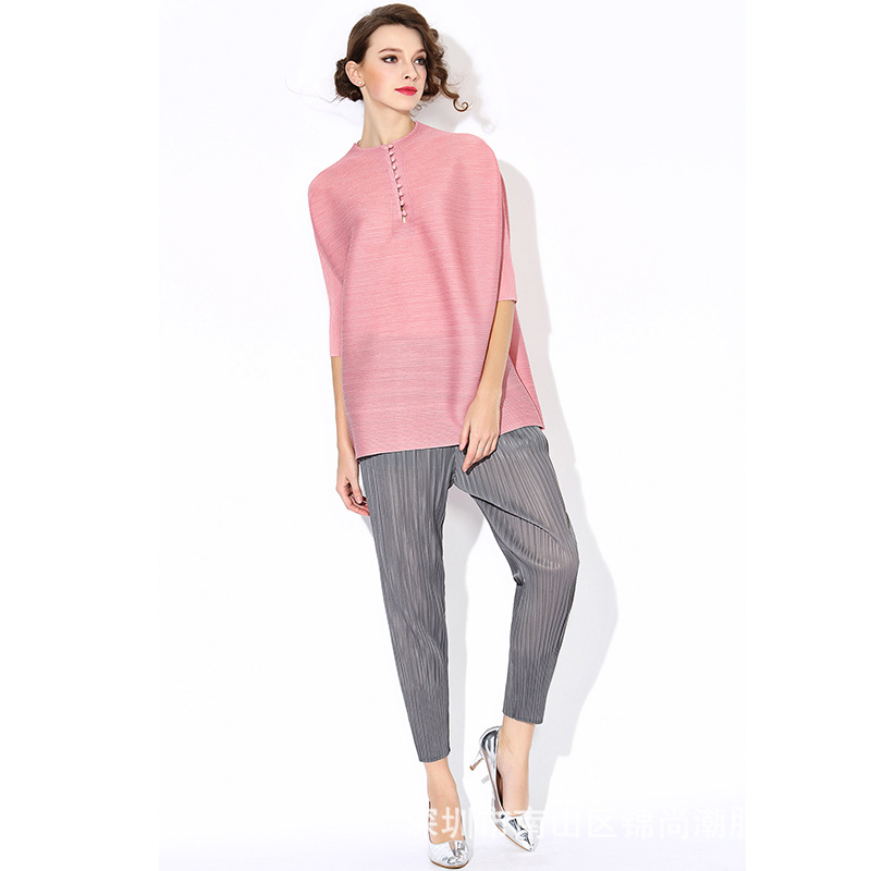 High Quality Special Pleated Cheongsam Nine Buckle T Shirt Large Size Women s Loose Tees Pink