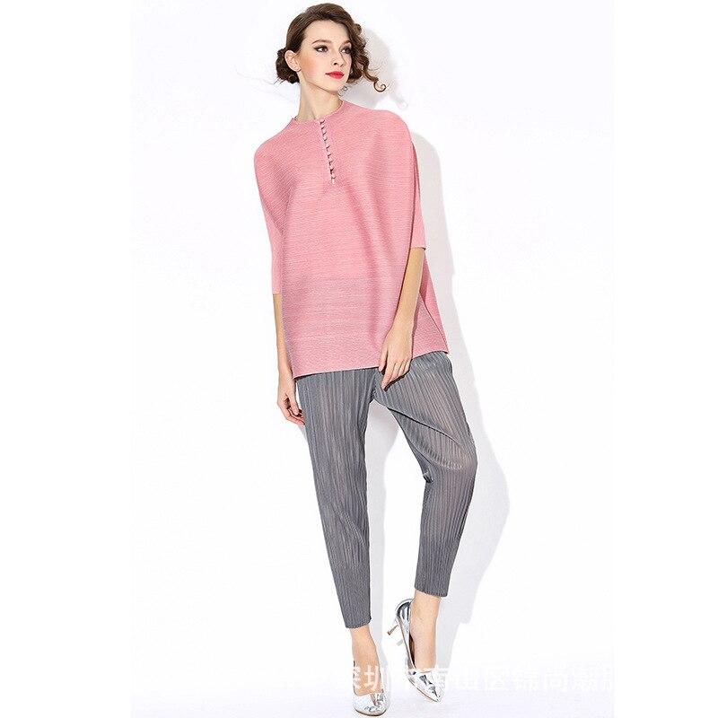 Haute Qualité Spécial Plissé Cheongsam Neuf Boucle T-Shirt femme Grande Taille Lâche T-shirts Rose Noir Gris Vert Rouge hauts