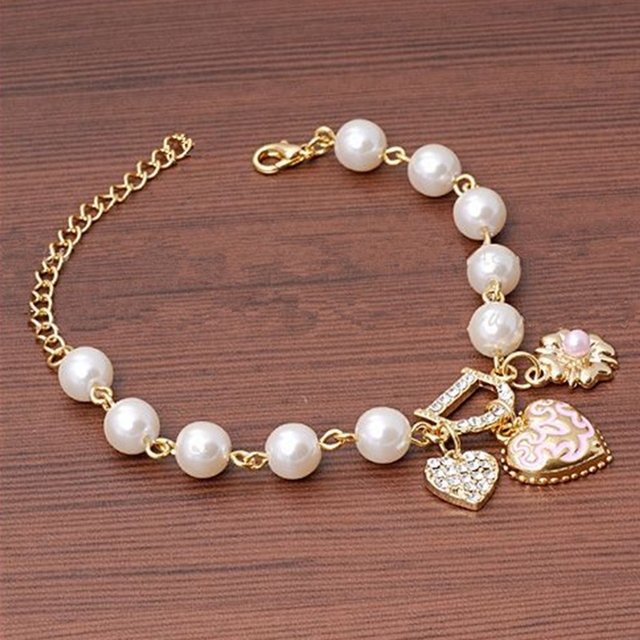 Simulated Pearls Charm Bracelet - Heart & Flower