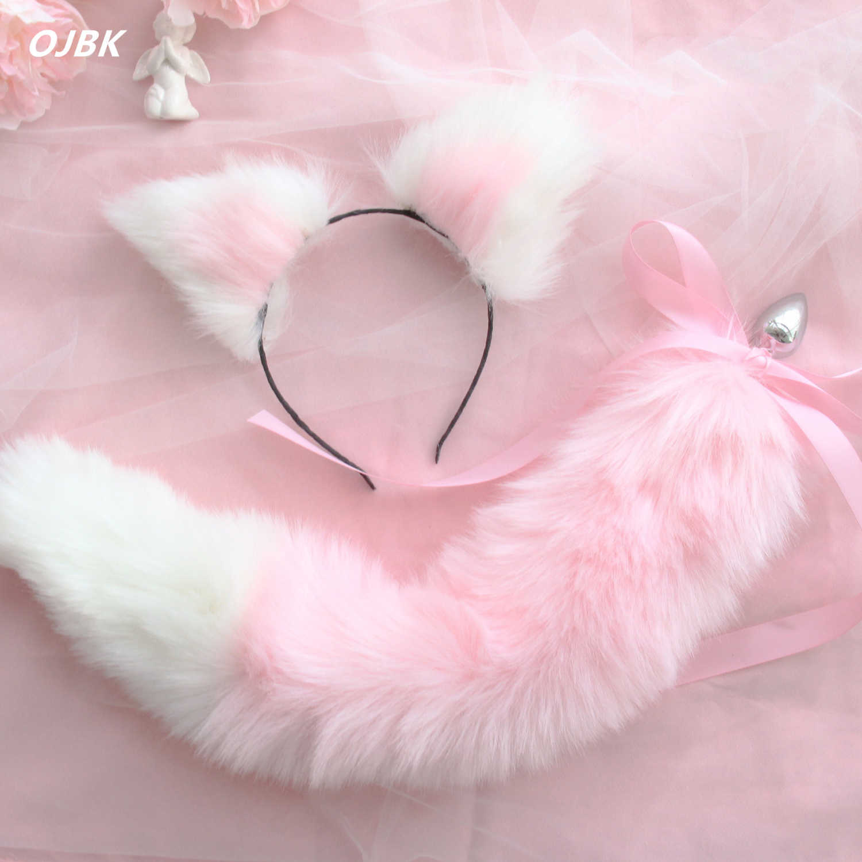 Милые мягкие ободки с кошачьими ушками с лисьим хвостом бант металлическая Анальная пробка эротические аксессуары для косплея секс-игрушки для пар для взрослых