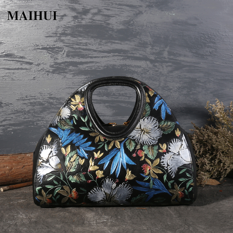 MAIHUI women leather handbags high quality real cow genuine leather shoulder bags new chinese style ladies embossing hobos bag women leather handbags high quality real cow genuine leather bags new fashion chinese style floral shoulder bag casual tote bag