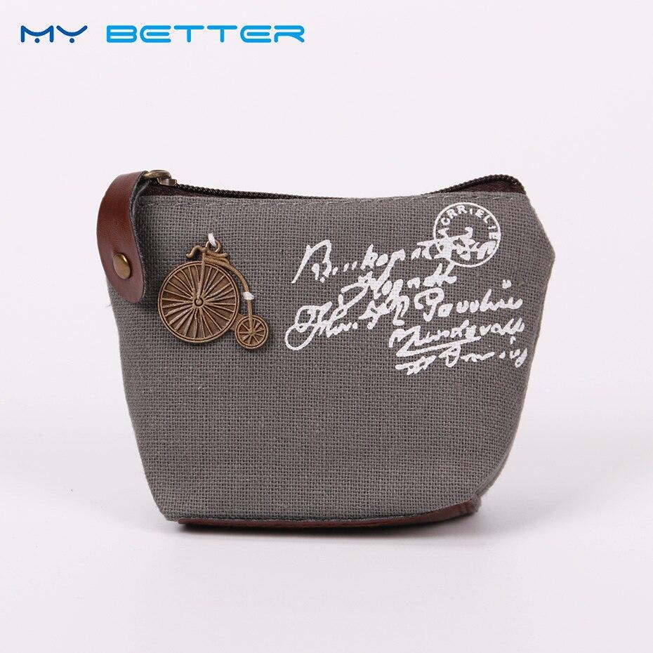 Canvas Classic Retro Small Change Coin Purse Little Key Pouch Money Bag Cotton Pocket Pouch Women Zipper Key Case Holder Wallet