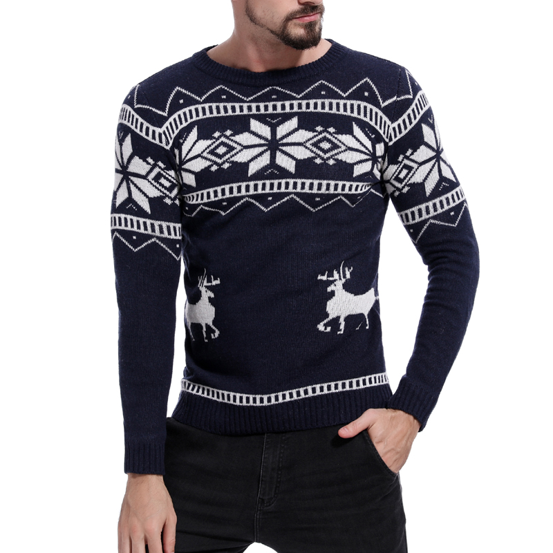 New  2019 Winter Mens Thick Fashion Warm Christmas Sweater With Deer Print Casual Pullovers Sweaters Men