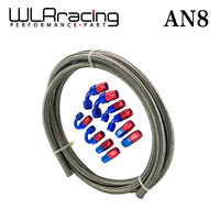 Wlring магазине-AN8 steelness/сталь плетеный 5 м AN8 нержавеющей масло/мазута lineline + 8AN установки 8-шланг Конец адаптер КИТ WLR7113 +