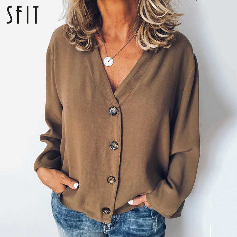SFIT Womens Summer Solid Blouse Long Sleeve Shirt Women Button Top Plus Size Casual V Neck Loose Long Sleeve Blouses