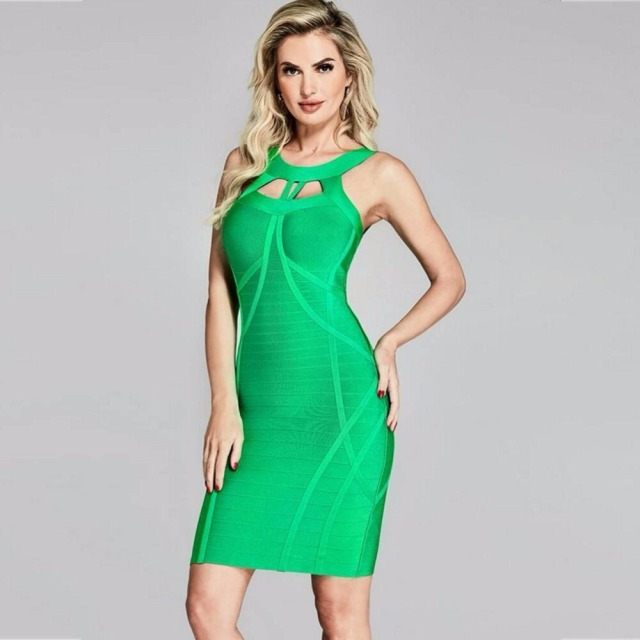 2018 summer women dress wholesale green cut out bandage dress hl black party  dress dropshipping WE-70 0bfeea8a2846