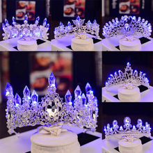 Bridal Crown Headband Lighting Women Girls Rhinestone Tiaras Lighted Wedding Crown LED Princess Shine Birthday Party Decorations(China)
