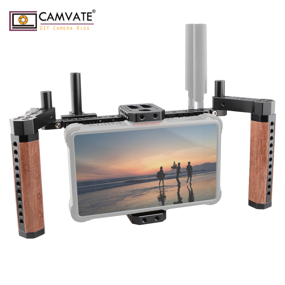 CAMVATE 5 and 7 LCD Director Monitor stabilizer Cage rig Compact With Wooden Handle Grip C1768