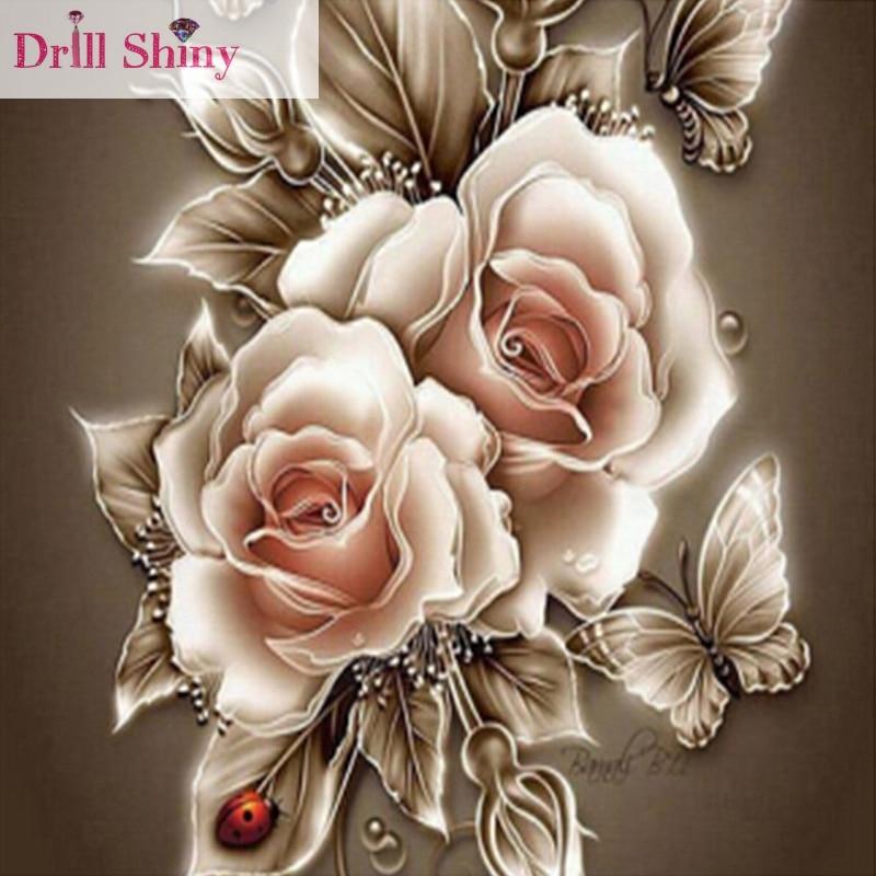 5d diy diamond painting flower decorative painting rose cross stitch wall sticker full drill diamond ribbon embroidery crafts