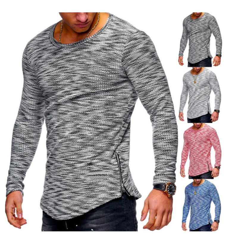 2019 Men's Fashion Spring Casual Hip hop Sports Breathable Pit neck pattern Round Neck Pattern Zipper hem T-Shirt