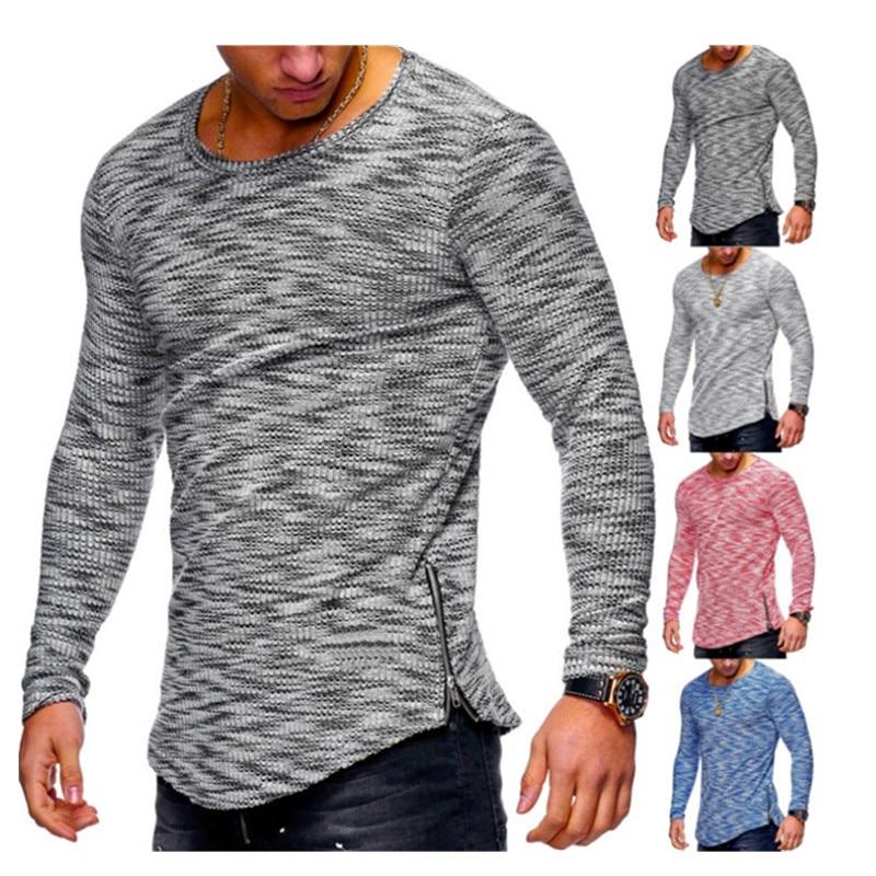2019 Men's Fashion Spring Casual Hip hop Sports Breathable Pit neck pattern Round Neck Pattern Zipper hem T-Shirt