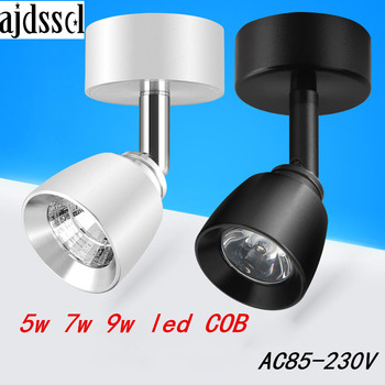 LED spot COB downlight surface mounted led Ceiling 360 degree rotation 5w 7w 9w dimmable Epistar Recessed Spot light AC110V/220V triac dimmable 0 10v dimmable dali dimmable 130lm w 50w gimbal downlight 360 degree recessed ceiling led lights 12pcs lot