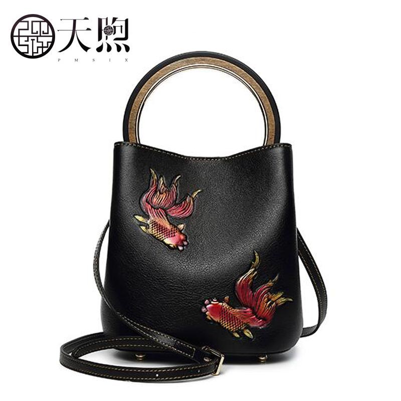 Famous brand top quality dermis women bag  Pmsix Bucket bag 2018 new large-capacity leather fashion leather shoulder bag handbag famous brands top quality dermis women bag fashion leisure travel women shoulder bag leather crocodile pattern backpack