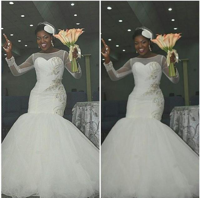 Elegant Mermaid Style Sheer Wedding Dresses 2017 With Long Sleeves