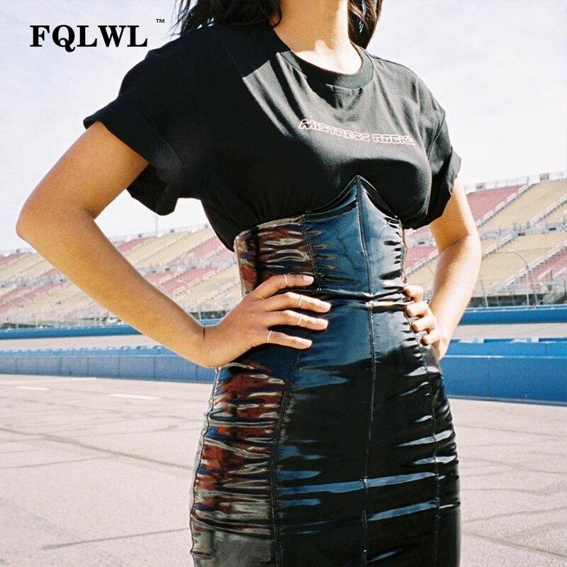 FQLWL Faxu Latex Pu Leather Skirt For Woman Zipper Black/High Waisted/Pencil Skirts Womens Autumn Wrap Sexy Mini Skirt Female semi formal summer dresses