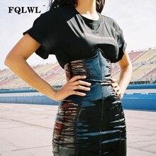 Fqlwl faxu látex saia de couro do plutônio para mulher zíper preto/cintura alta/lápis saias das mulheres outono envoltório sexy mini saia femininaSaias