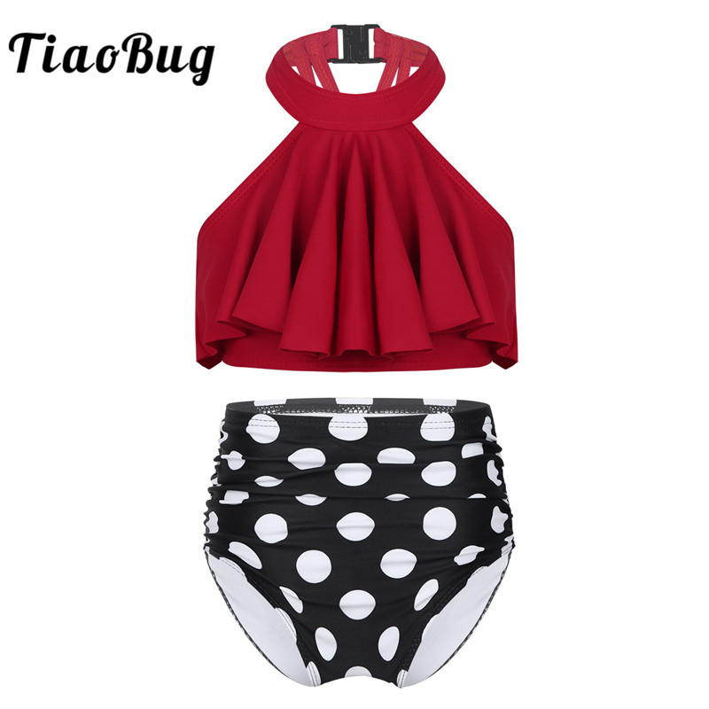 TiaoBug Kids Girls Two-Piece Tankini Halter Ruffle Flounce Swimsuit Swimwear Children Bathing Suit Top With Briefs Set Beachwear