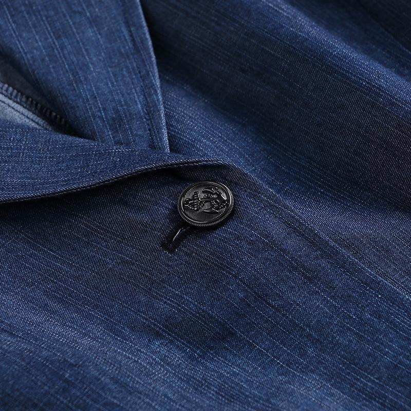 Patchwork Robe Mode Ligne Élégante Femmes 2019 Pour Dentelle Printemps Une 4 Blue Vêtements Pièces Denim Faux 3 Deux Manches Naturel Nouveauté fqFOrzSf