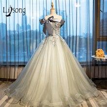 Moderno Gris Fuera Del Hombro Vestido de Noche Formal Vestidos de Bola vestido de festa Alta Moda Nupcial Formal de la Tarde Vestidos Vestido Longo