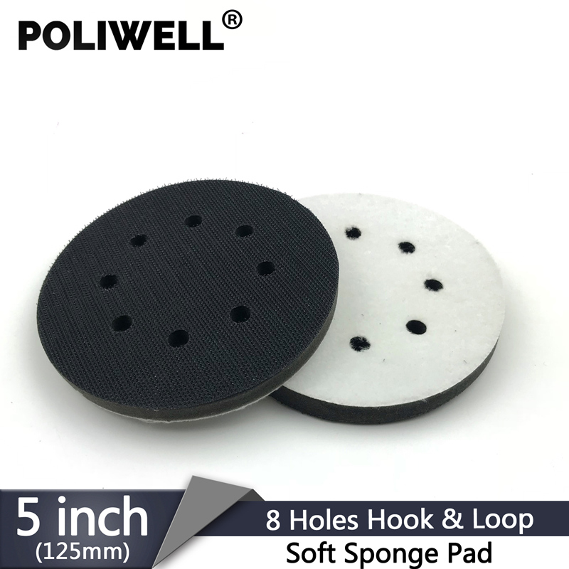 POLIWELL 1PC 5 Inch 8-Hole Sanding Sponge Interface Pad For Sanding Pads 125mm Hook&Loop Buffer Pad For Uneven Surface Polishing