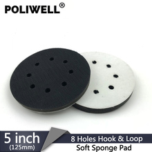 POLIWELL 1PC 5 Inch 8 Hole Sanding Sponge Interface Pad for Sanding Pads 125mm Hook&Loop Buffer Pad for Uneven Surface Polishing