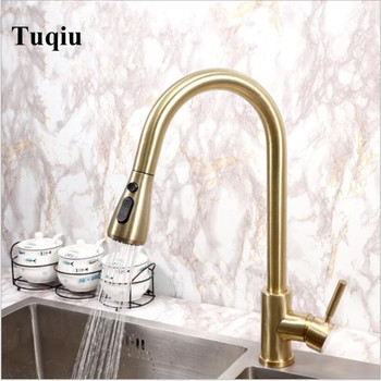 Pull Out Kitchen Faucet Brush gold Stainless Steel Kitchen Sink Mixer Tap 360 degree rotation Pull Out Kitchen taps Kitchen Tap