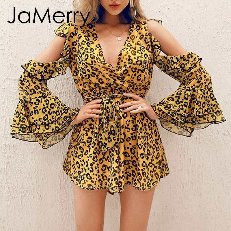 JaMerry Vintage sexy leopard print women playsuit Cold shoulder long sleeve short   jumpsuit   romper Sashes summer casual overalls