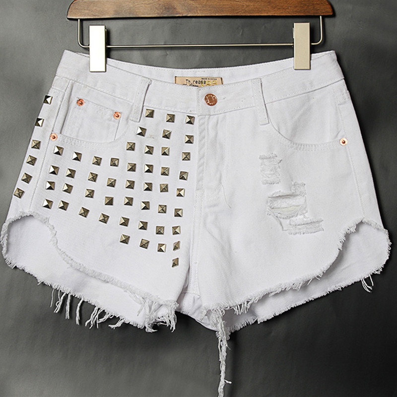 Free Shipping 2015 Women Street Fashion Jeans Shorts Rivet Ripped Jeans Slim Joker Cotton Denim Shorts