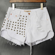 Free Shipping 2015 Women Street Fashion Jeans Shorts Rivet Ripped Jeans Slim Joker Cotton Denim Shorts Plus Size Hot Sales E55